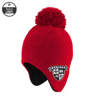 TODDLER RED KNIT EARFLAP HAT WITH FLEECE LINING