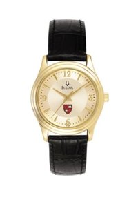 BULOVA WOMEN'S BLACK LEATHER WATCH WITH GOLD