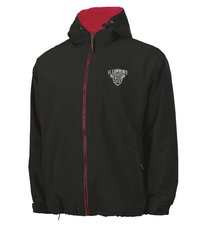 CHARLES RIVER MENS FULL ZIP HOODED JACKET BLACK W/ RED LINING