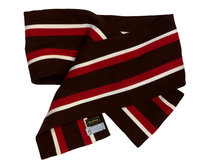 SCARF PURE WOOL STRIPE RED/BROWN/WHITE