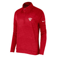 NIKE WOMENS 1/4 ZIP RED L/S