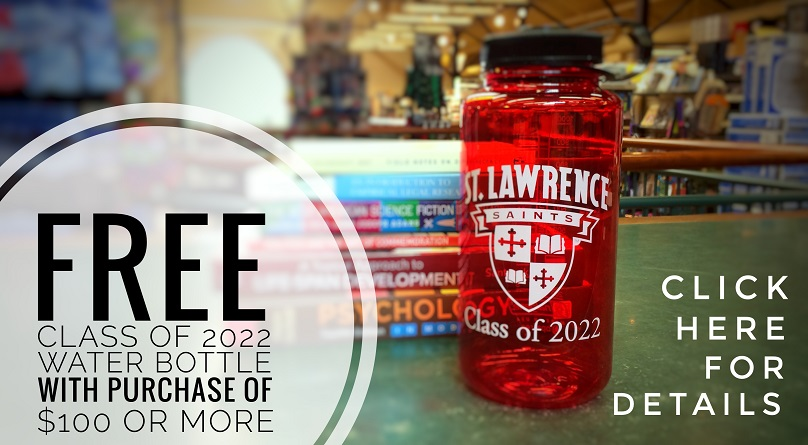 Class of 2012 red Nalgene bottle in front of textbooks