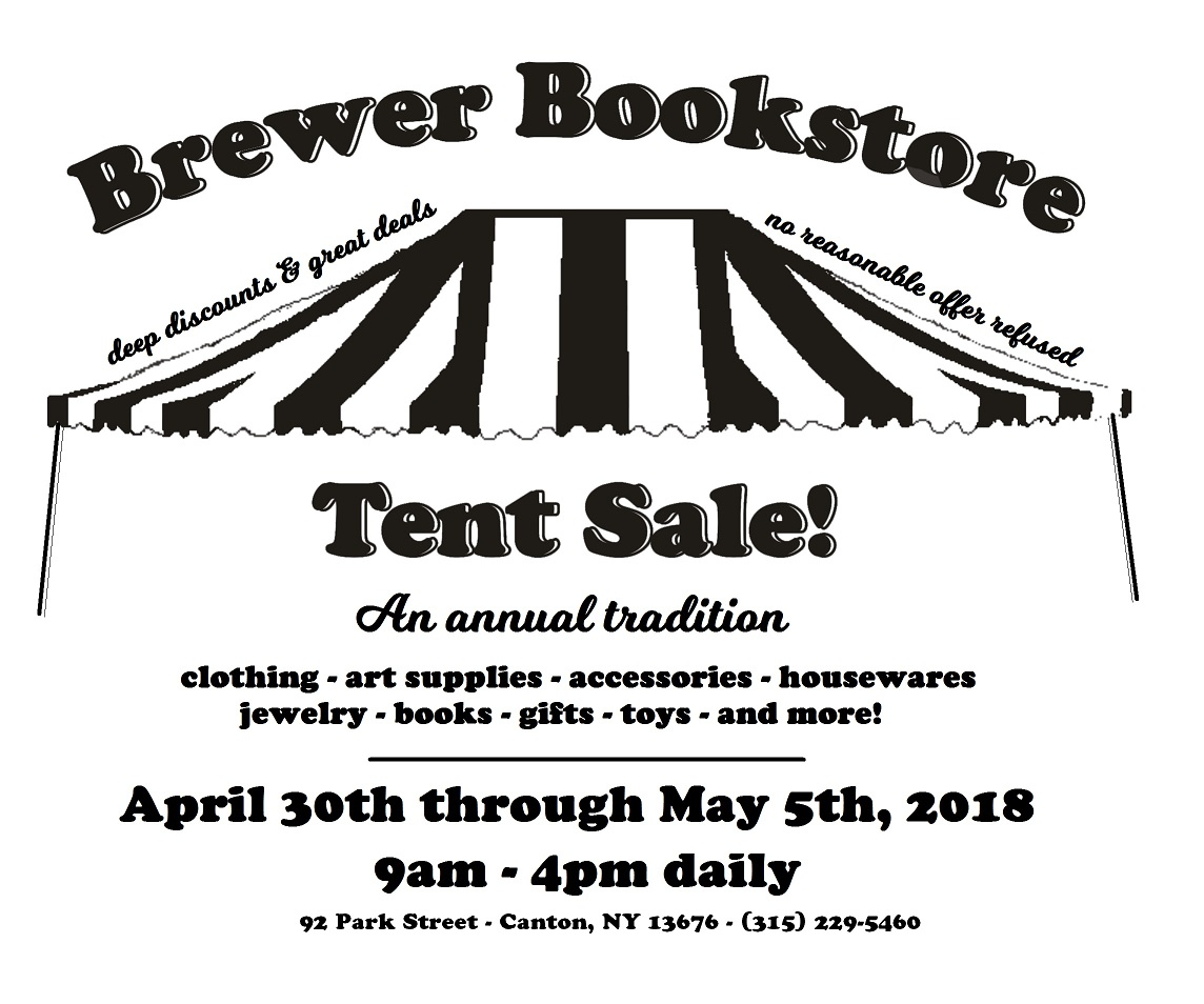 Advertisement for Brewer Bookstore Tent Sale with Tent Image